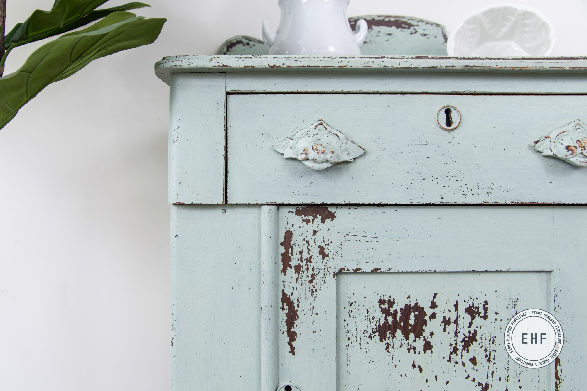 Top corner of chippy bespoke victorian washstand