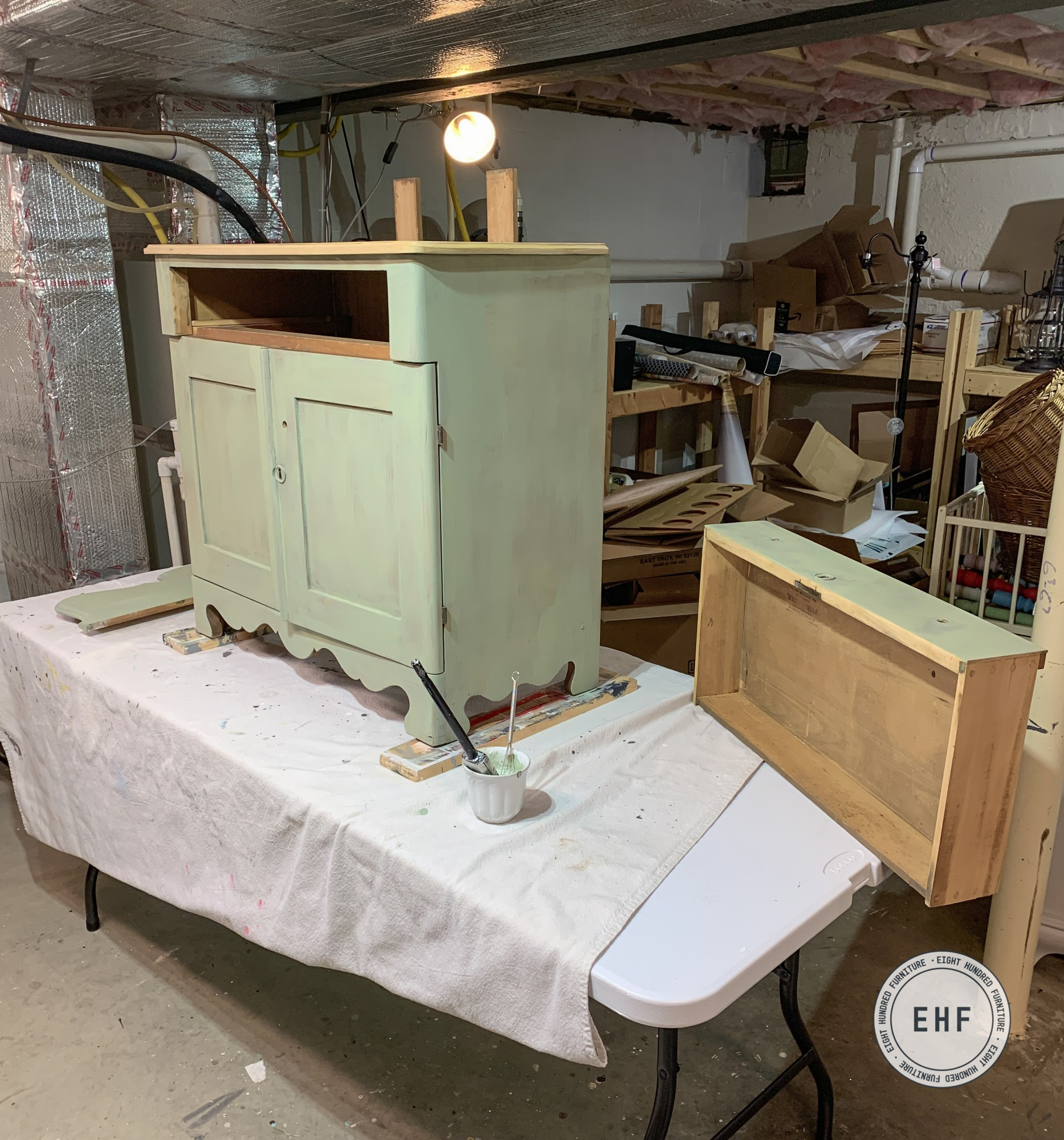 Antique washstand painted in Layla's Mint by Miss Mustard Seed's Milk Paint