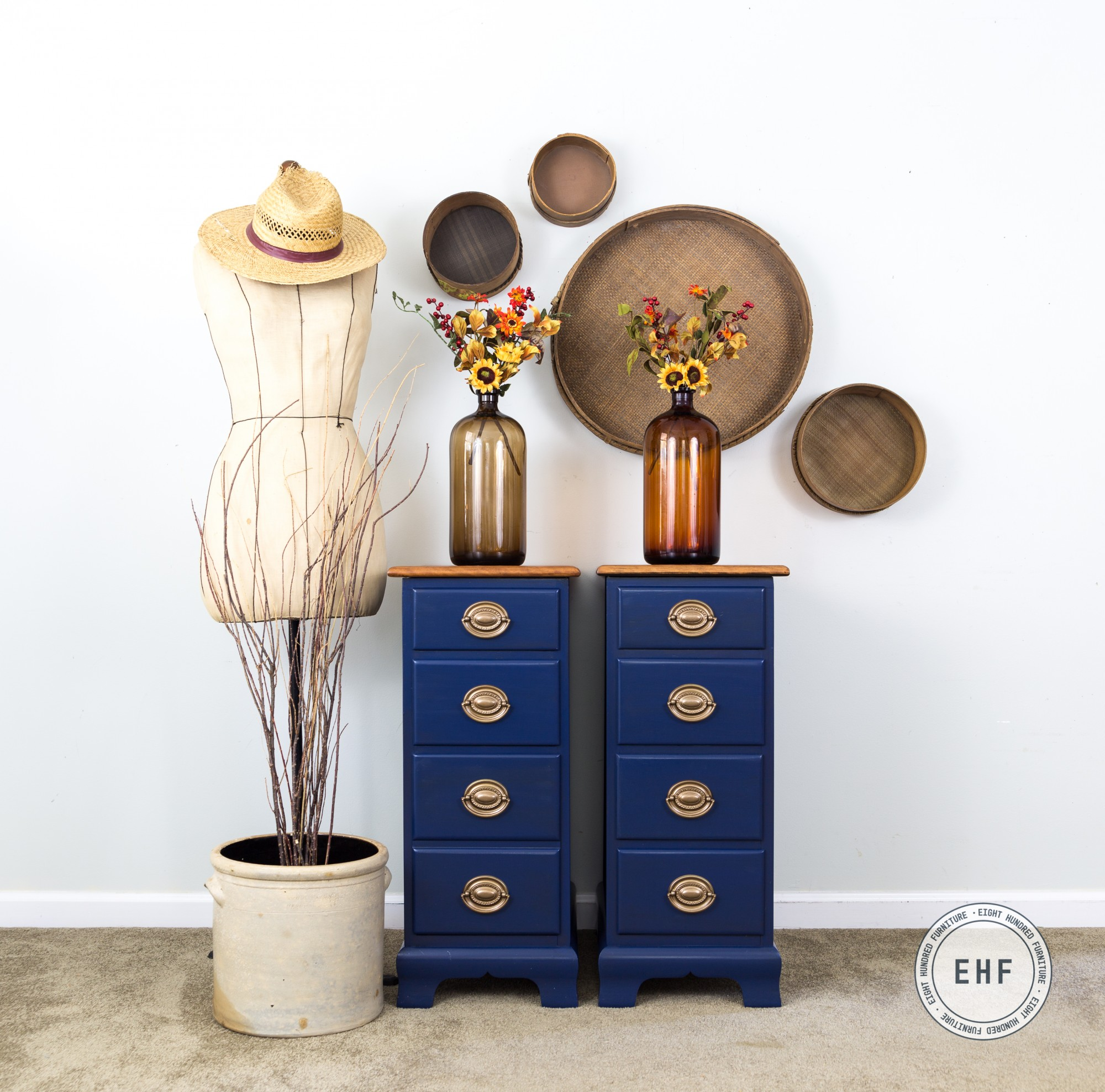 Maple nightstands painted in China Blue Milk Paint by General Finishes by Eight Hundred Furniture