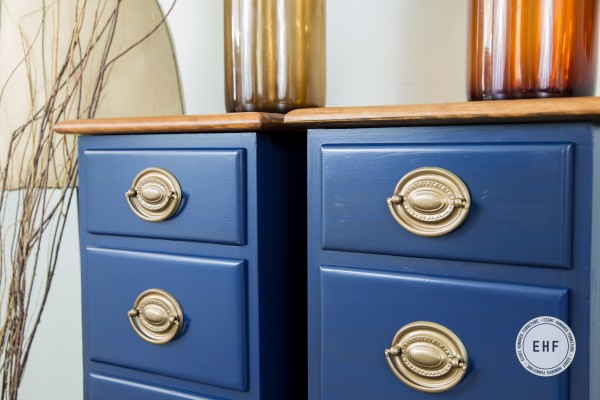 Hepplewhite handles on nightstands painted in China Blue Milk Paint by General Finishes, Eight Hundred Furniture