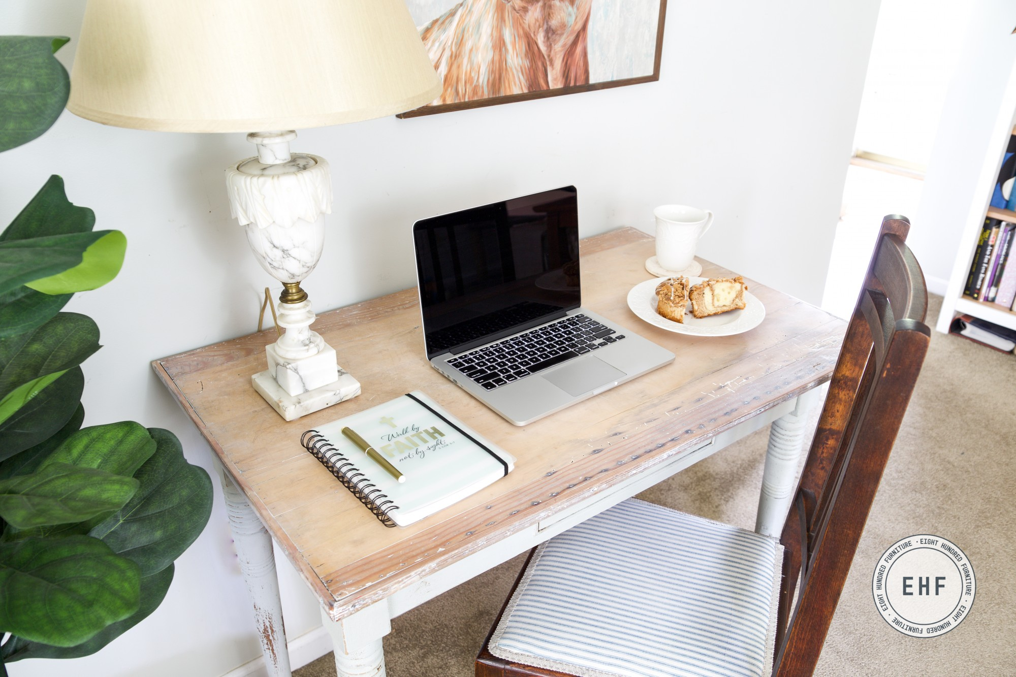 Top of desk painted in Mora by Miss Mustard Seed's Milk Paint with a White Wax top
