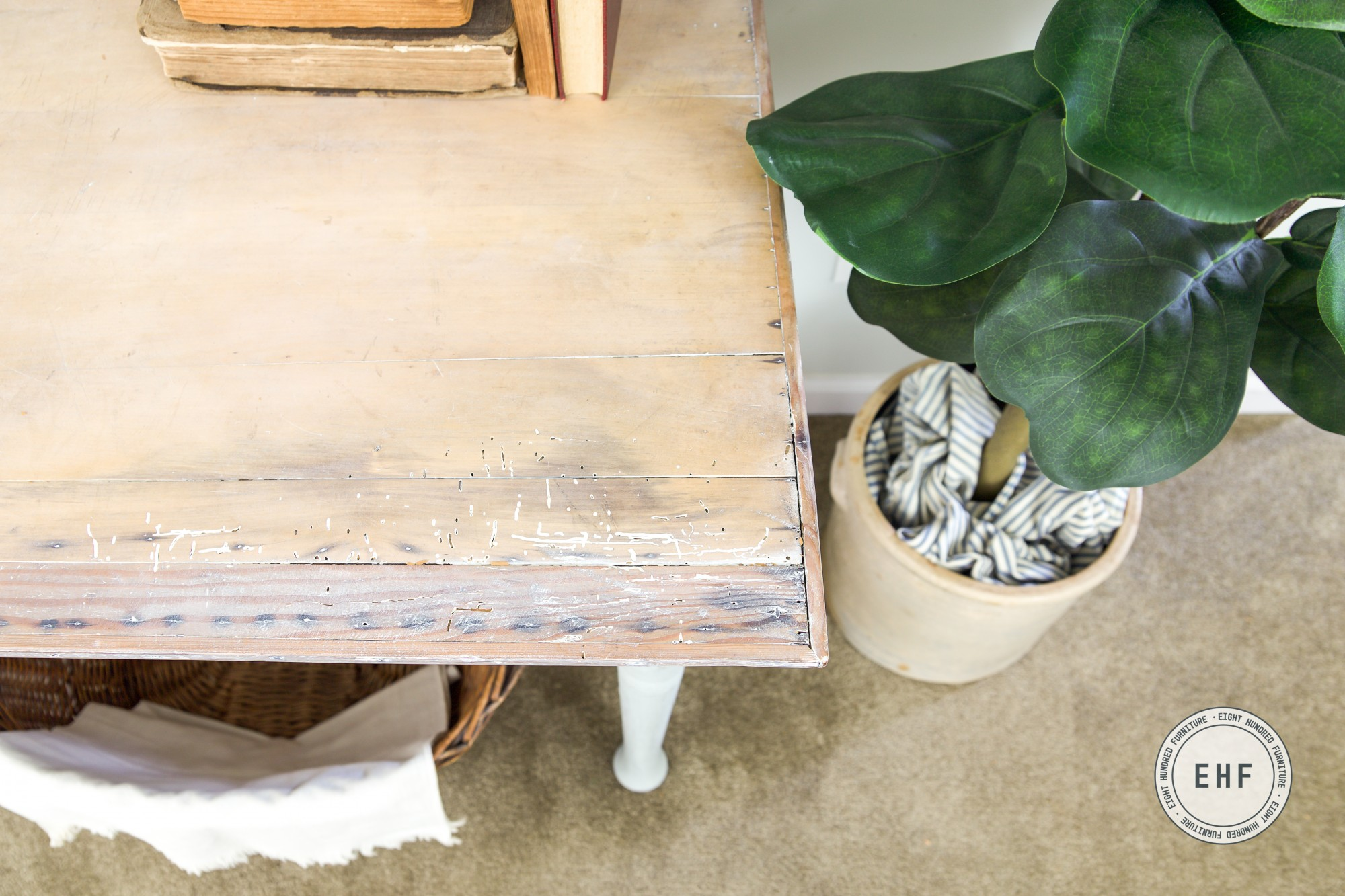 Whitewashed desk top using White Wax by Miss Mustard Seed's Milk Paint