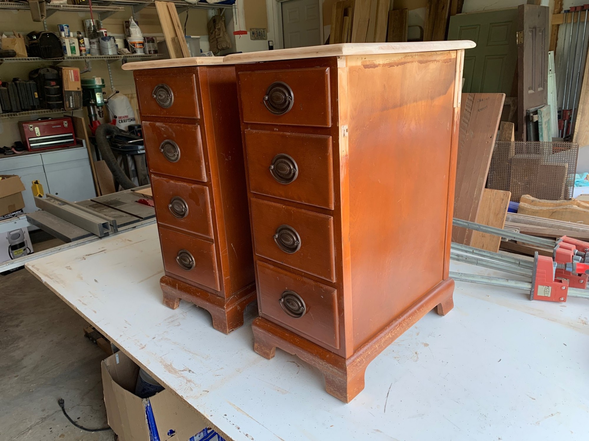 Side view of maple nightstands salvaged from a vintage desk