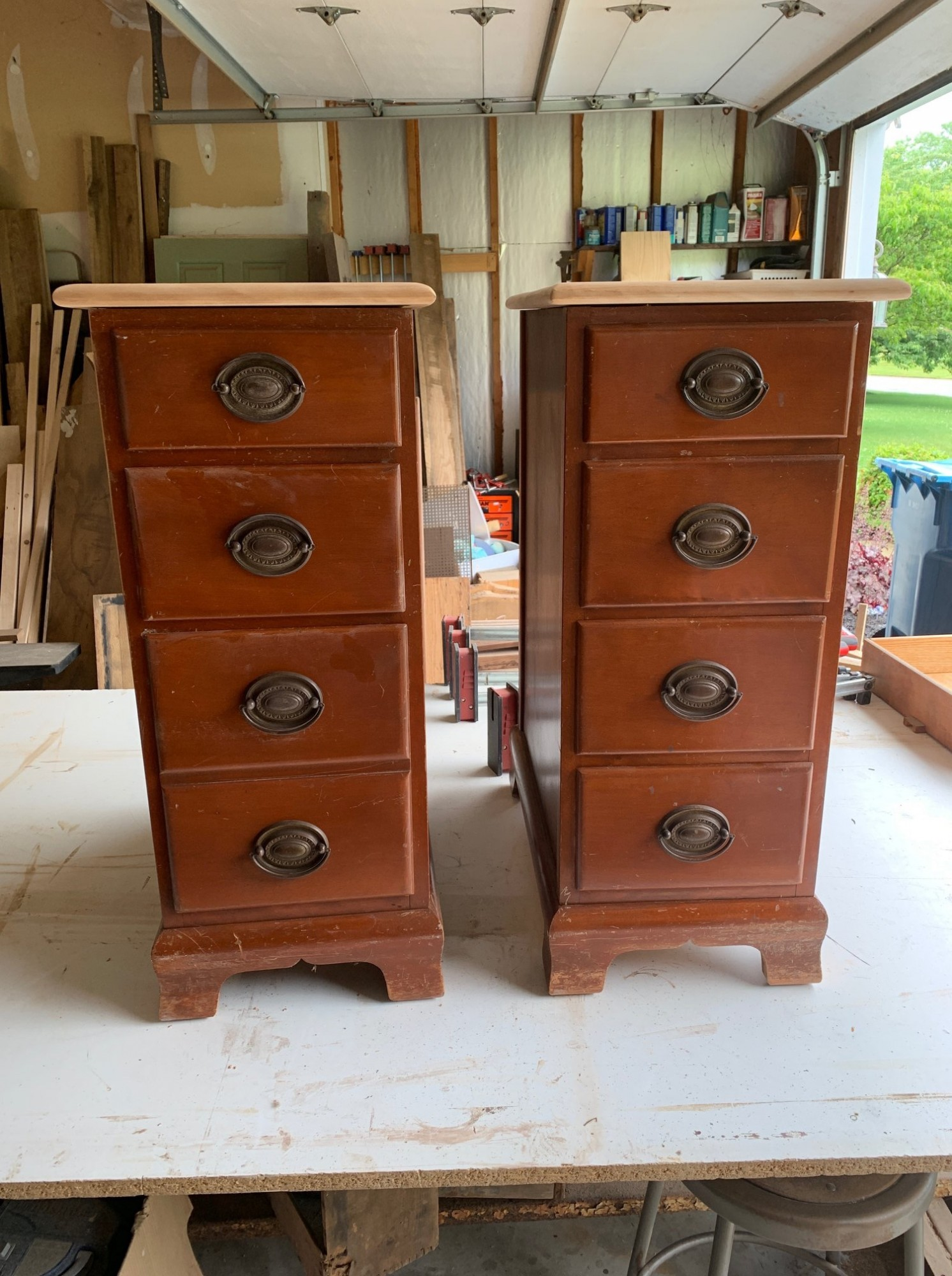 Pair of nightstands salvaged from a vintage desk