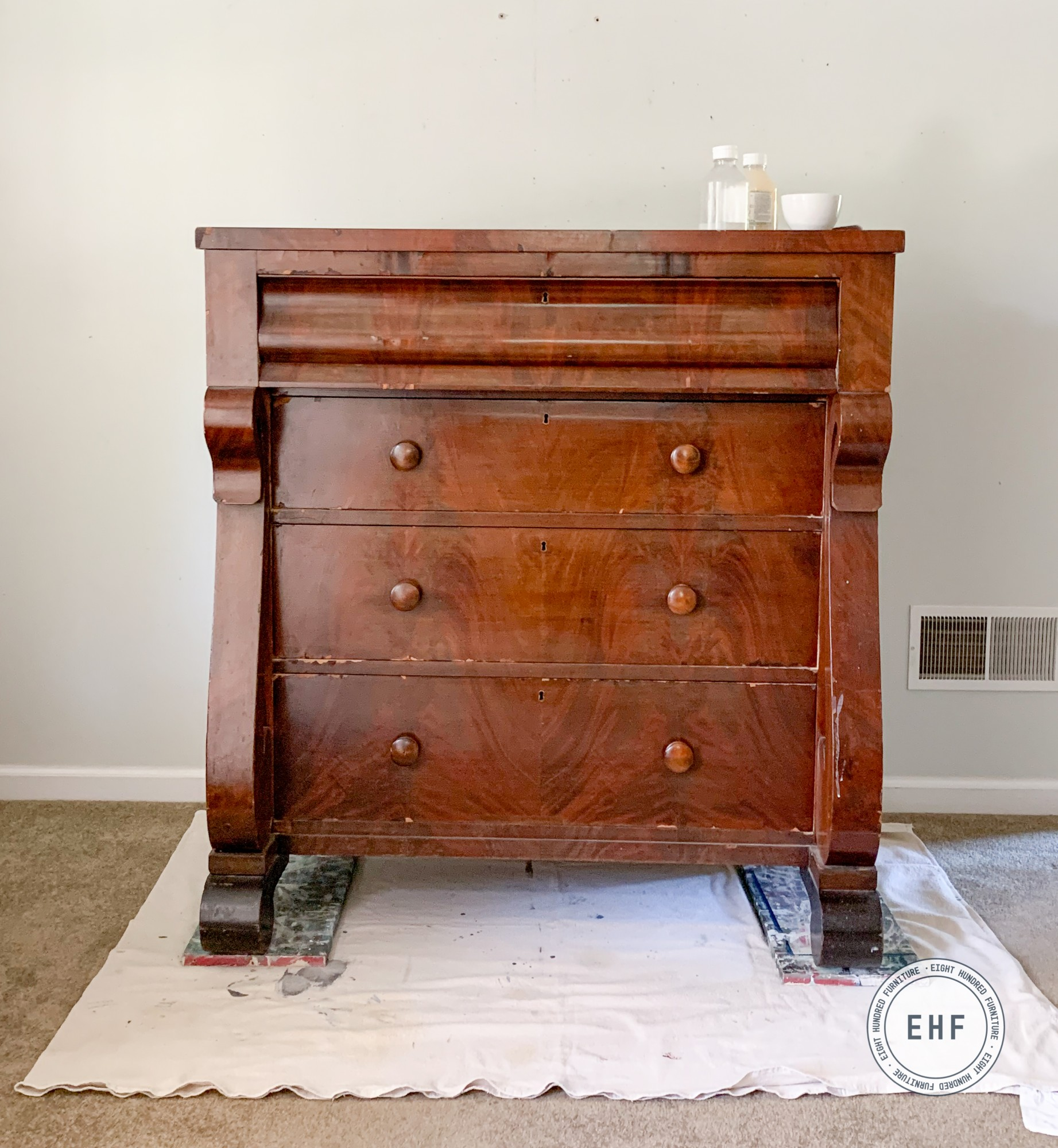 Empire dresser waiting to be painted in Miss Mustard Seed's Milk Paint