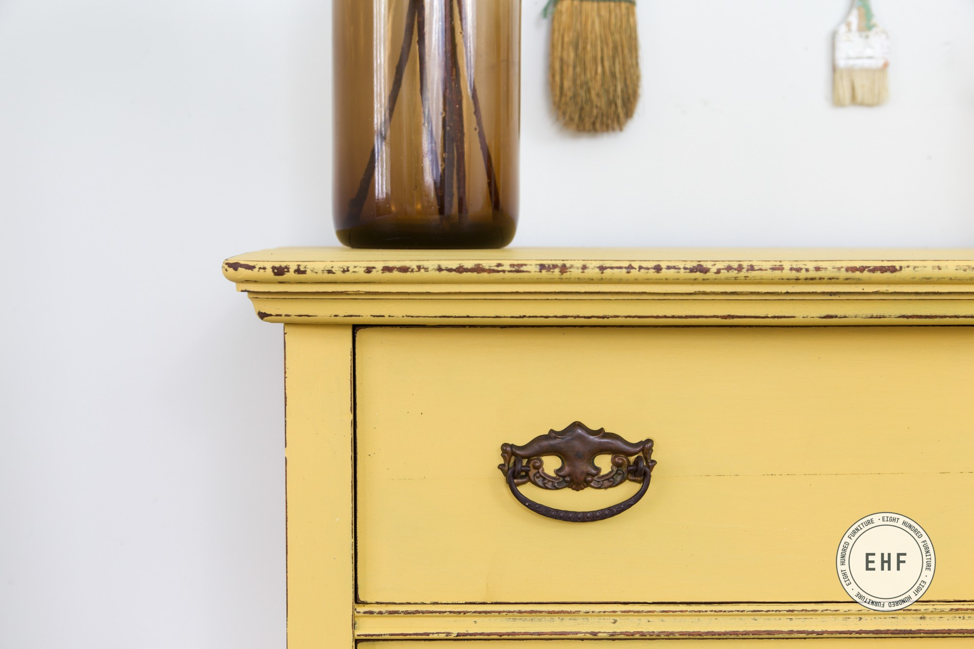 Mustard Seed Yellow Milk Paint on antique dresser with Hemp Oil