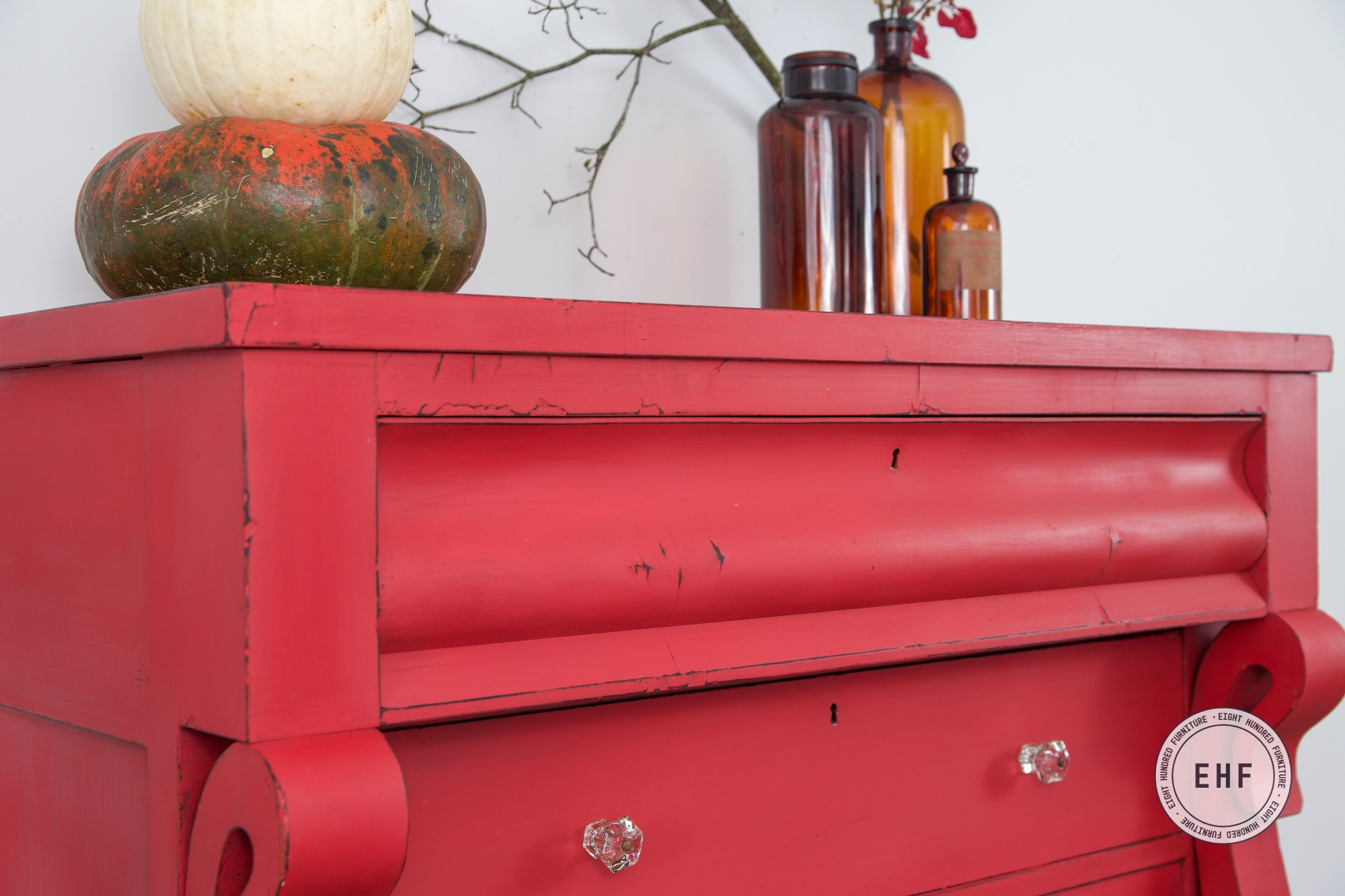 Top drawer of Empire Dresser painted in Miss Mustard Seed's Milk Paint by Eight Hundred Furniture