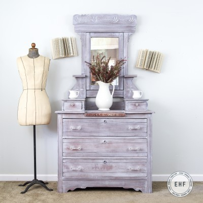 Whitewashed Eastlake Dresser With Mirror