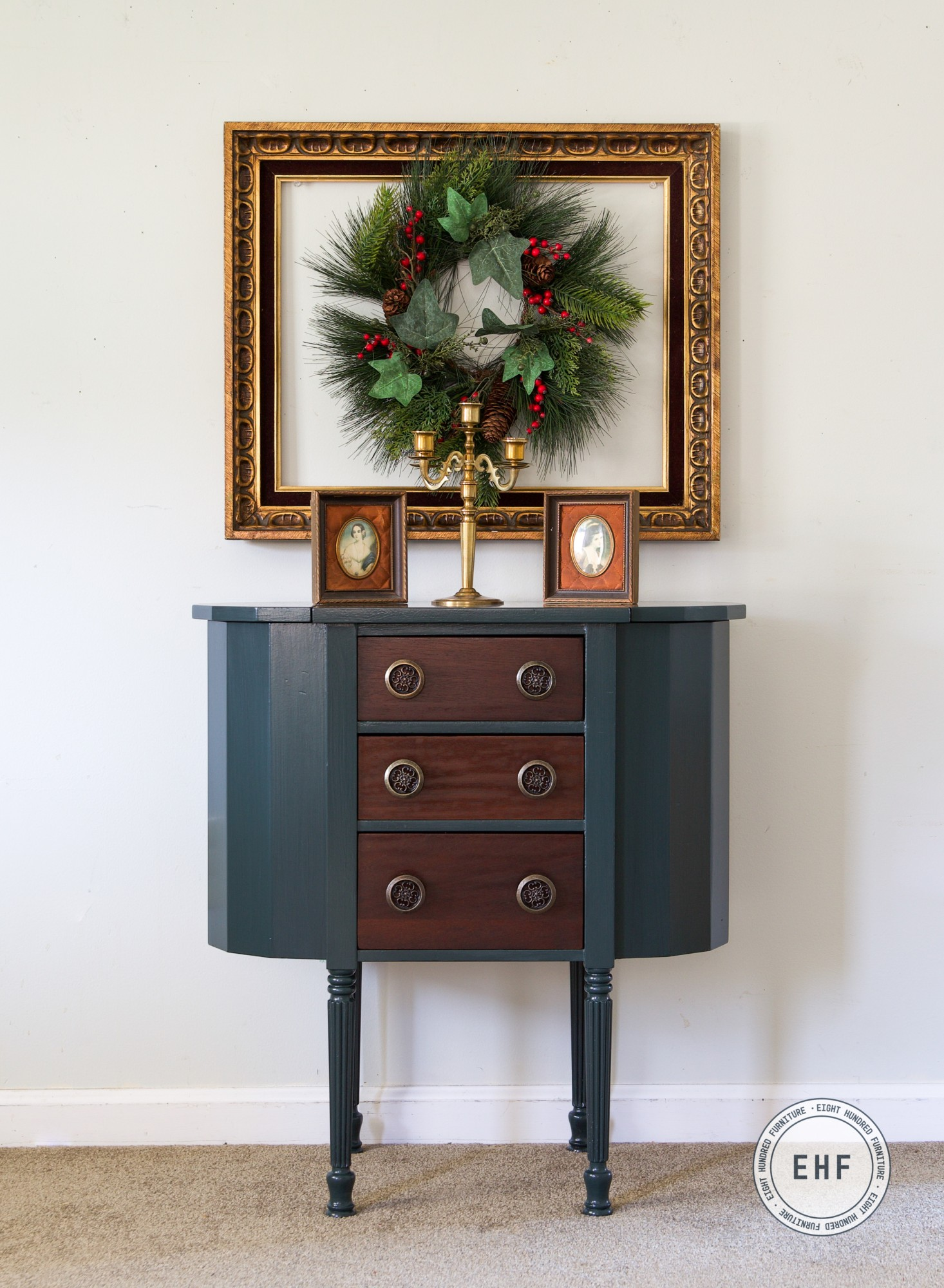 Martha Washington Sewing Table, General Finishes Milk Paint, Arm-R-Seal, Westminster Green, Emerald, Lamp Black, Eight Hundred Furniture