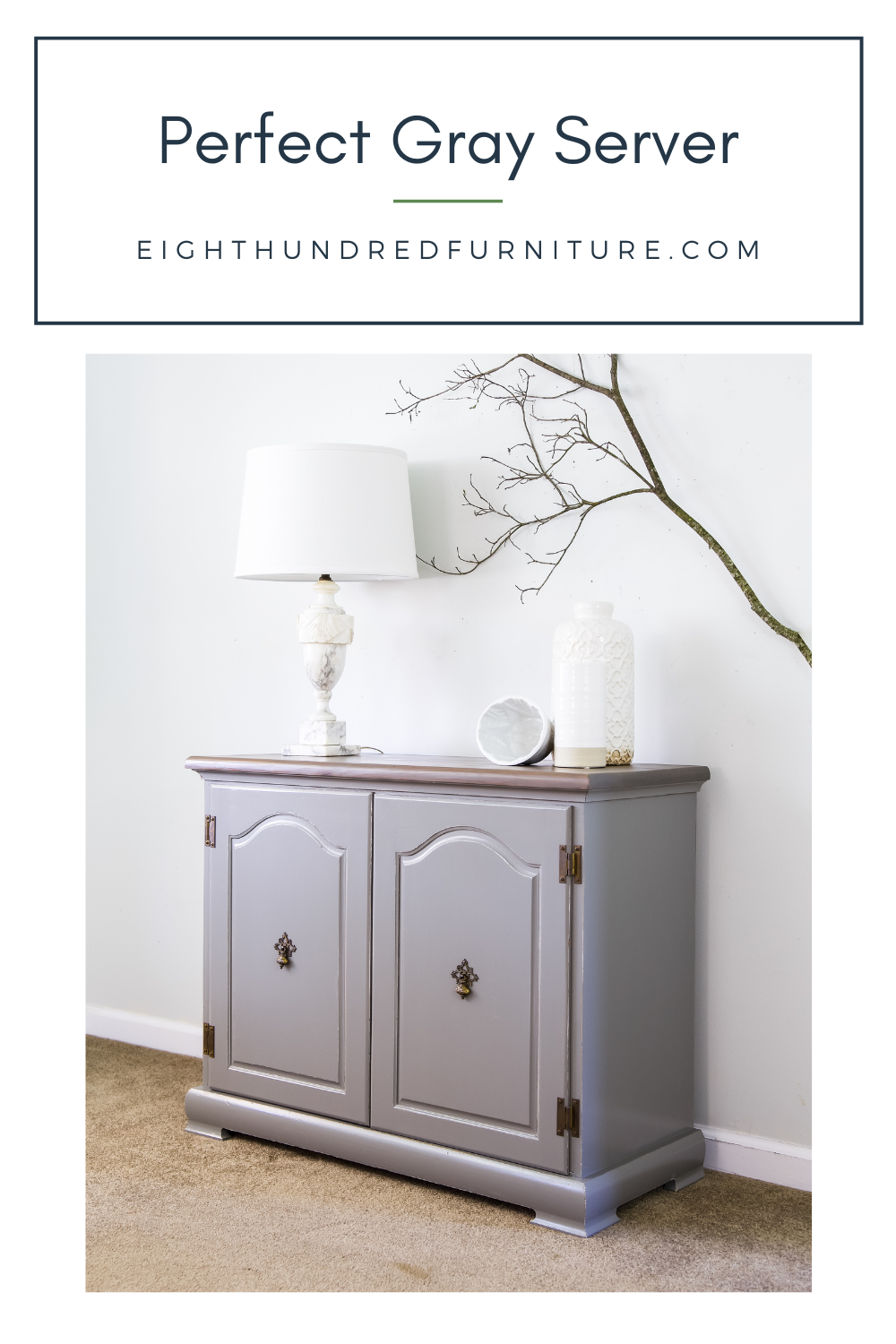 Server painted in Perfect Gray Milk Paint by General Finishes