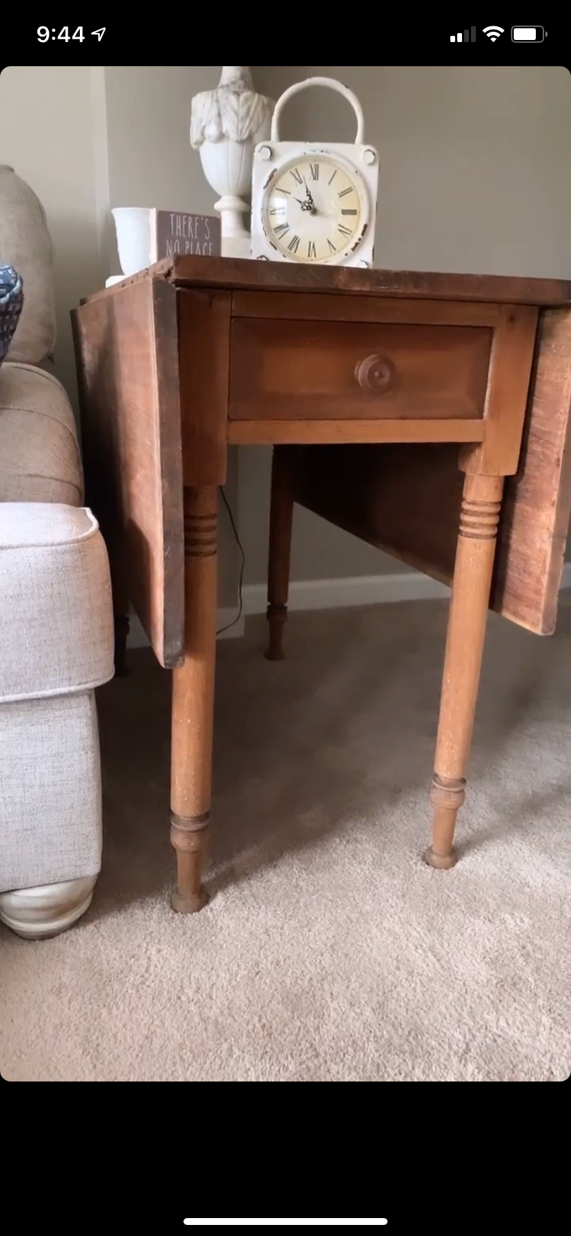 Before state of antique side table