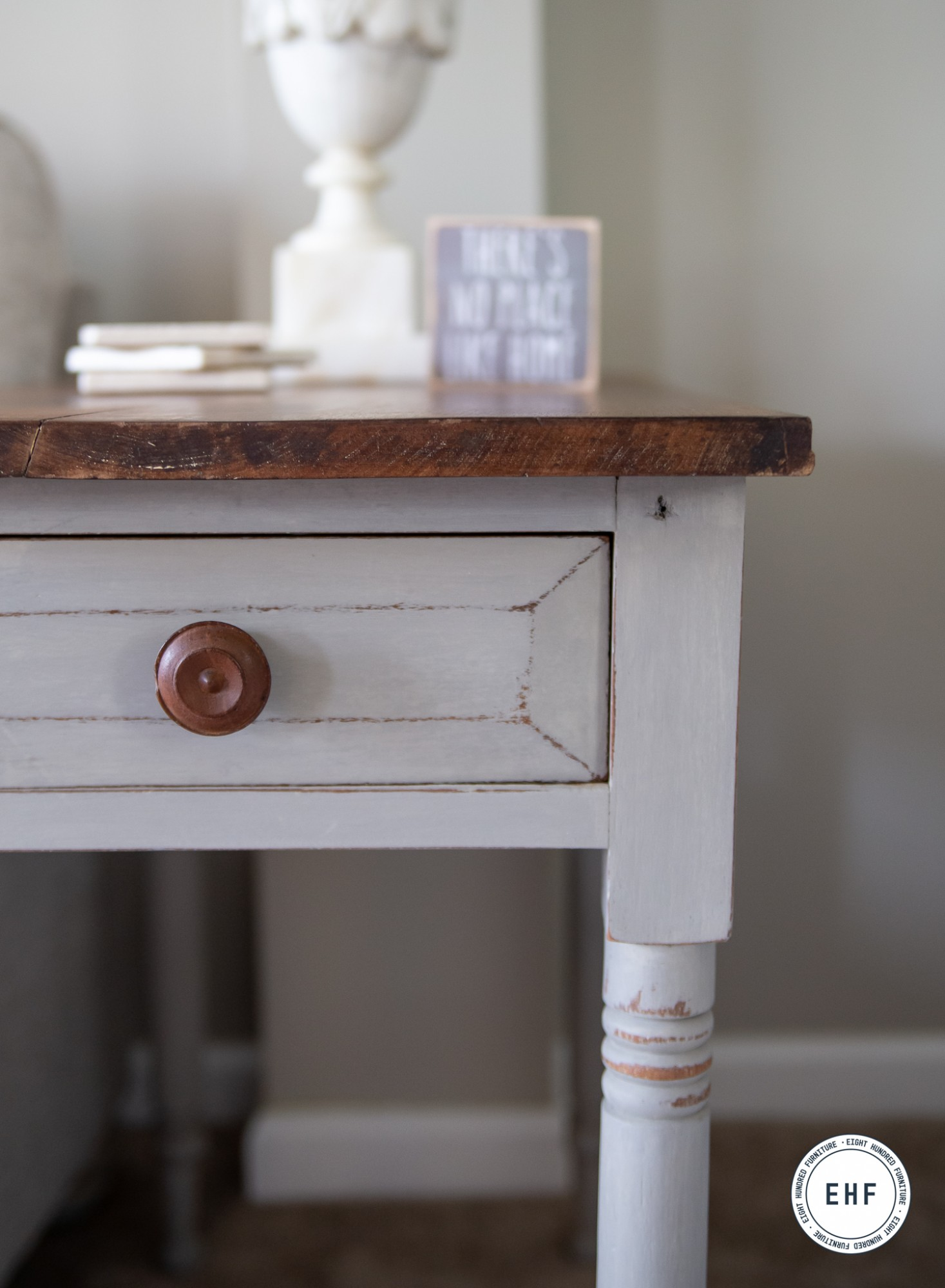 Corner of side table painted by Eight Hundred Furniture in the color Schloss by Miss Mustard Seed's Milk Paint