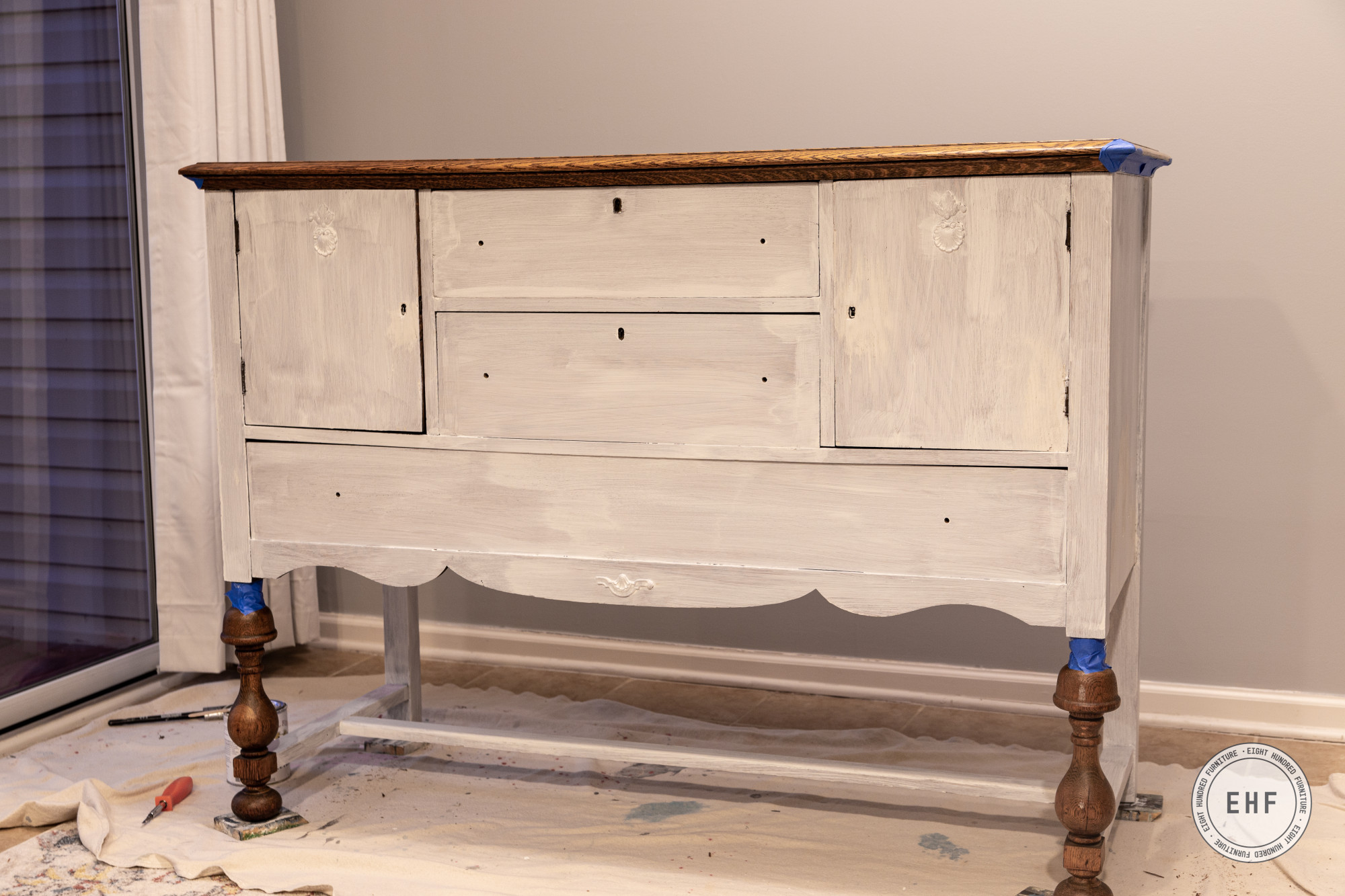 One coat of General Finishes Stain Blocker on antique oak buffet
