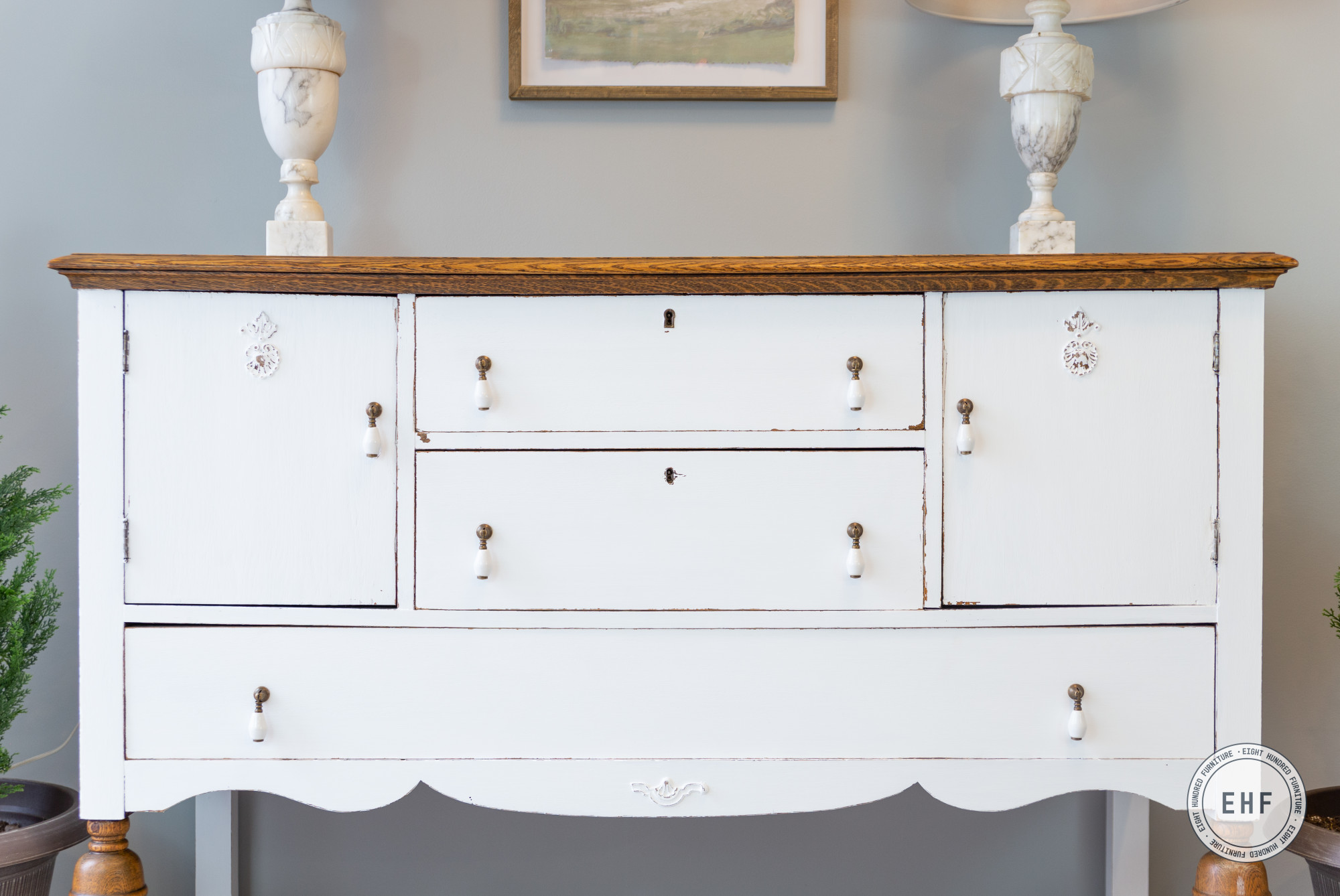 Antique oak buffet in General Finishes Brushable White Enamel in Flat, Eight Hundred Furniture, Drop Pulls