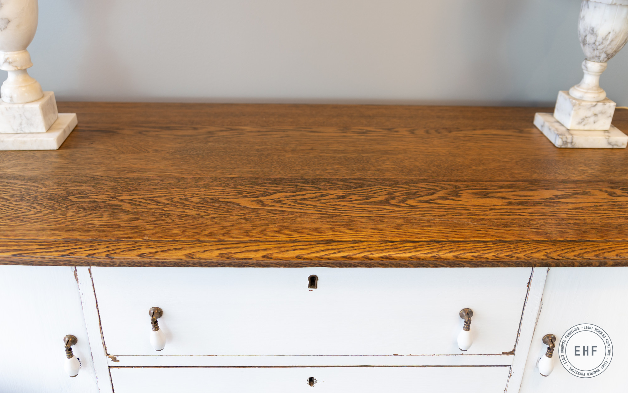 Oak top on buffet painted in General Finishes Brushable White Enamel in Flat