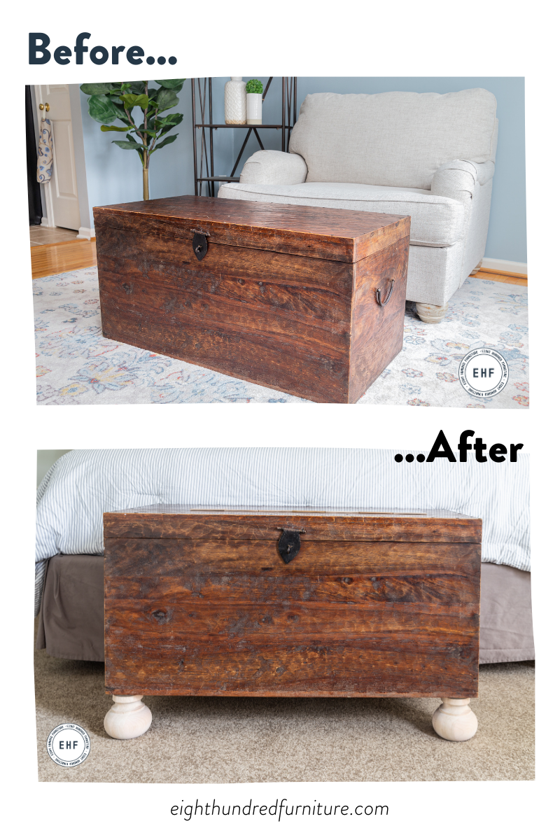 Wooden blanket chest before and after addition of wooden club bun feet from Osborne Wood Products, Eight Hundred Furniture