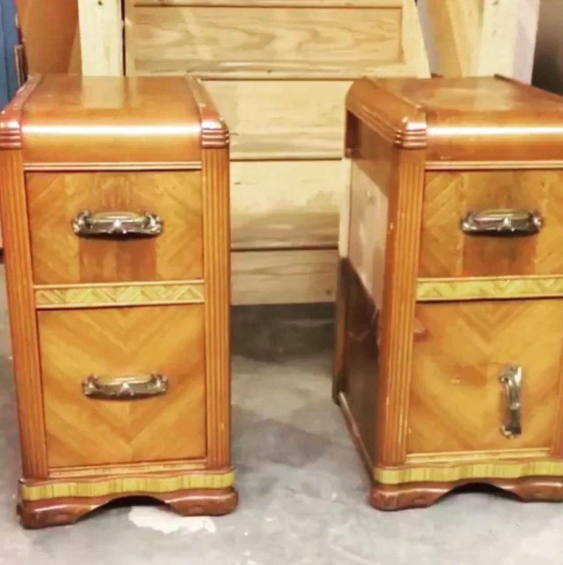 Vintage waterfall nightstands with bakelite handles