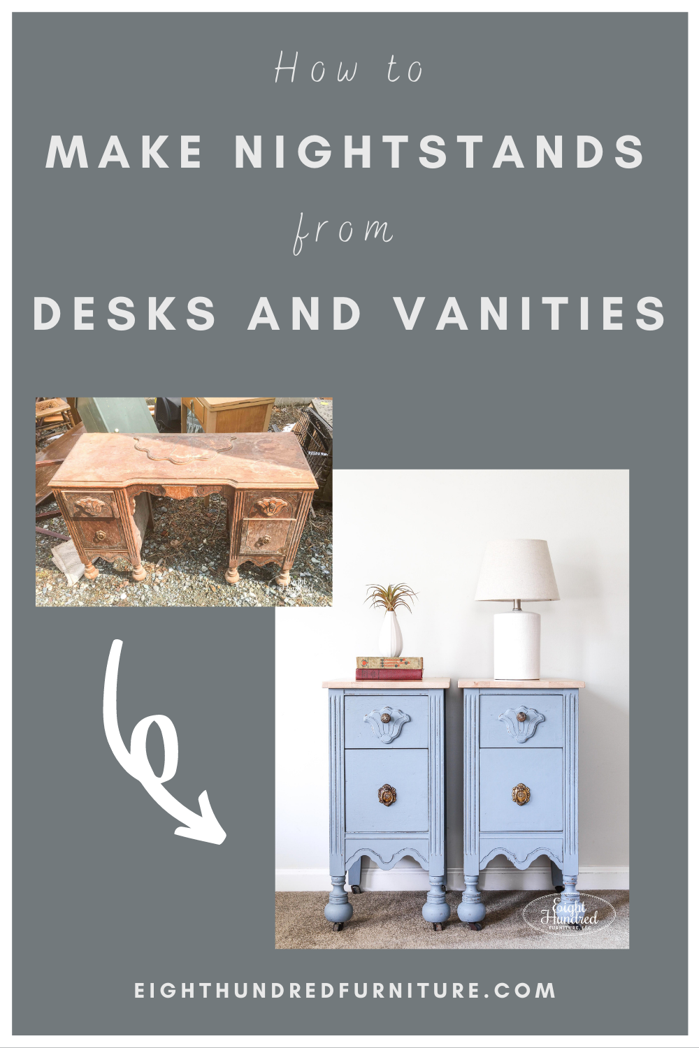 How to make nightstands from a desk or makeup vanity