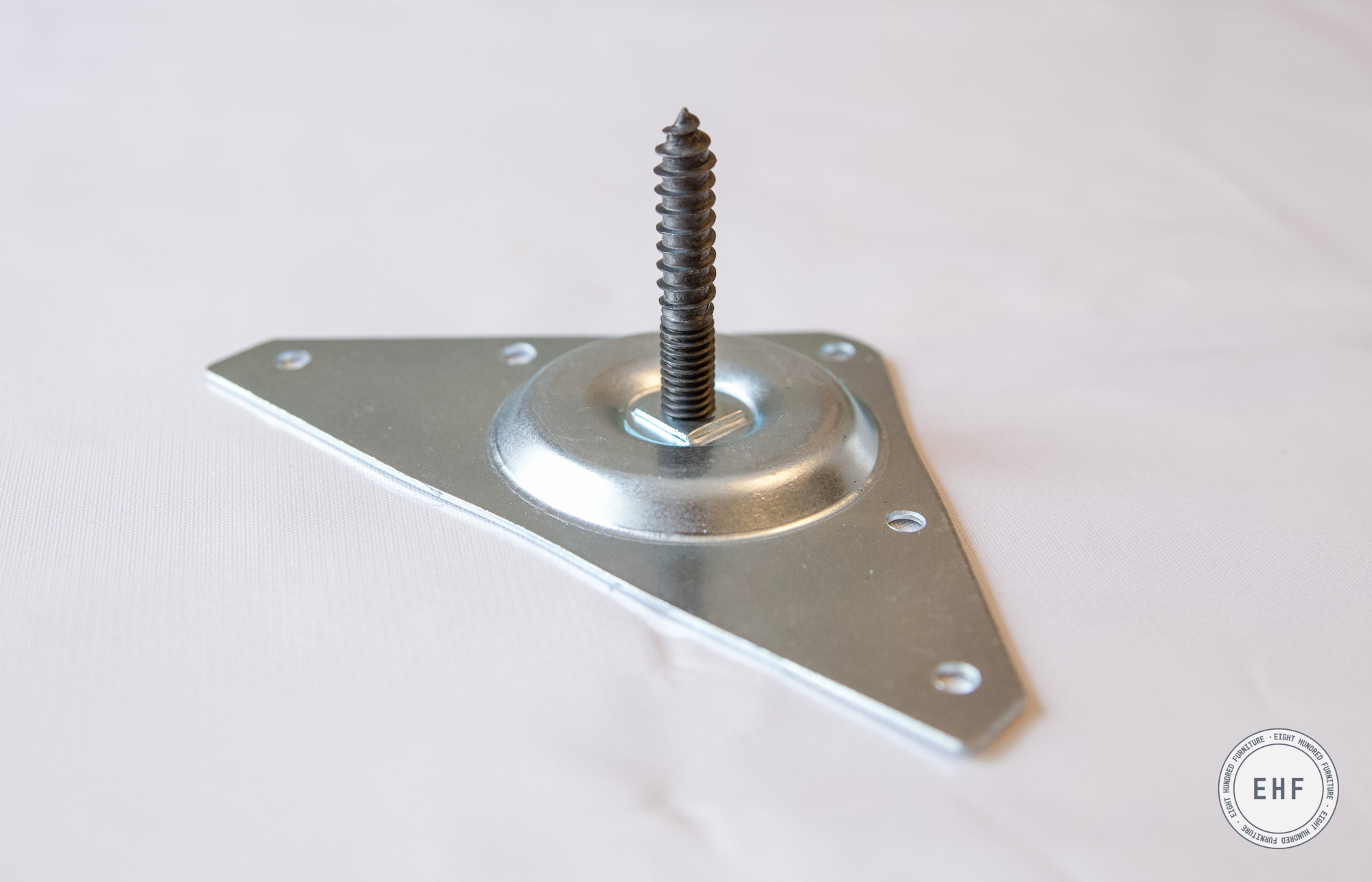 Metal corner bracket and hanger bolt for installing wooden furniture feet, Eight Hundred Furniture