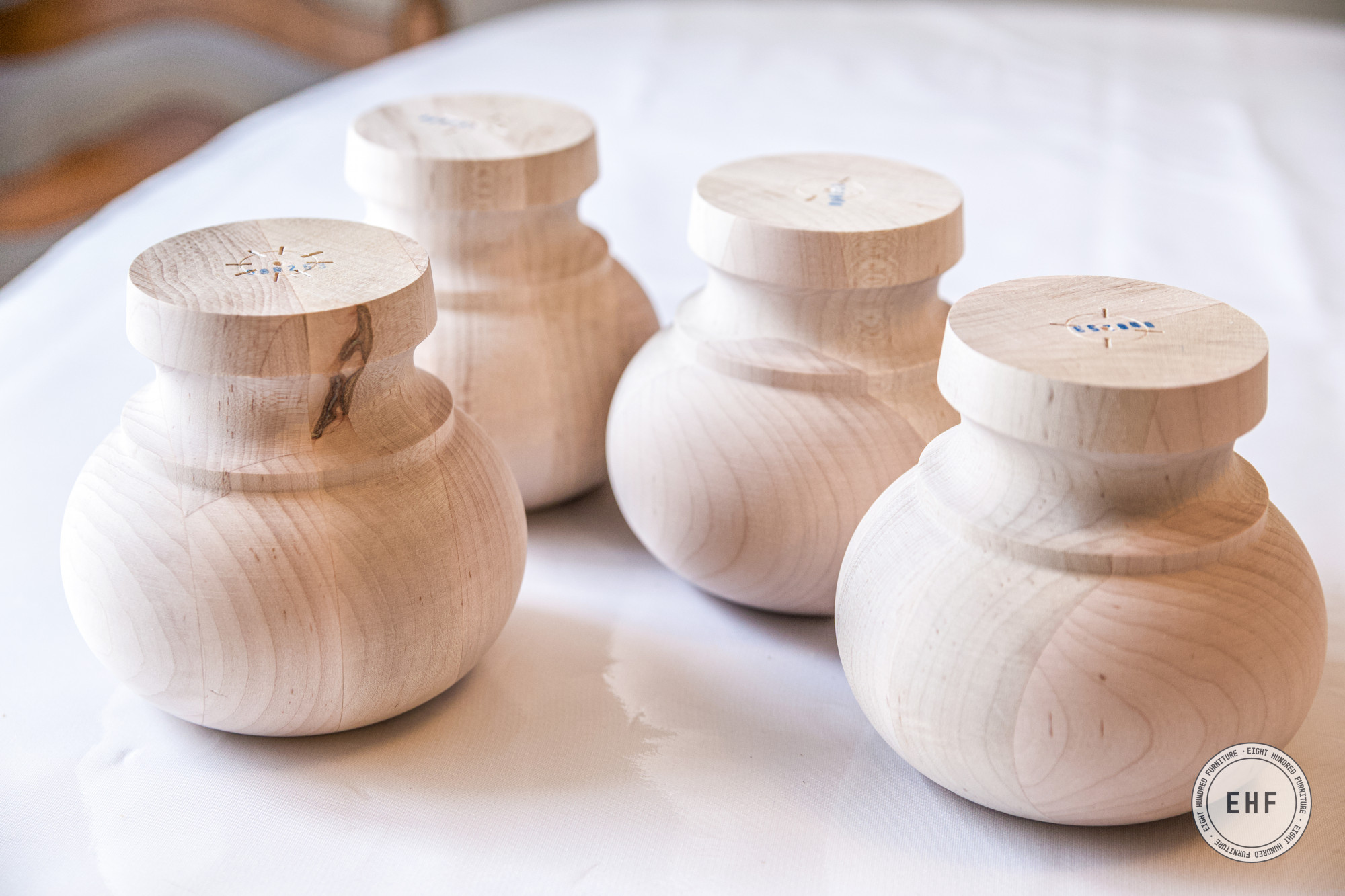 Four maple wooden bun feet from Osborne Wood Products, Eight Hundred Furniture