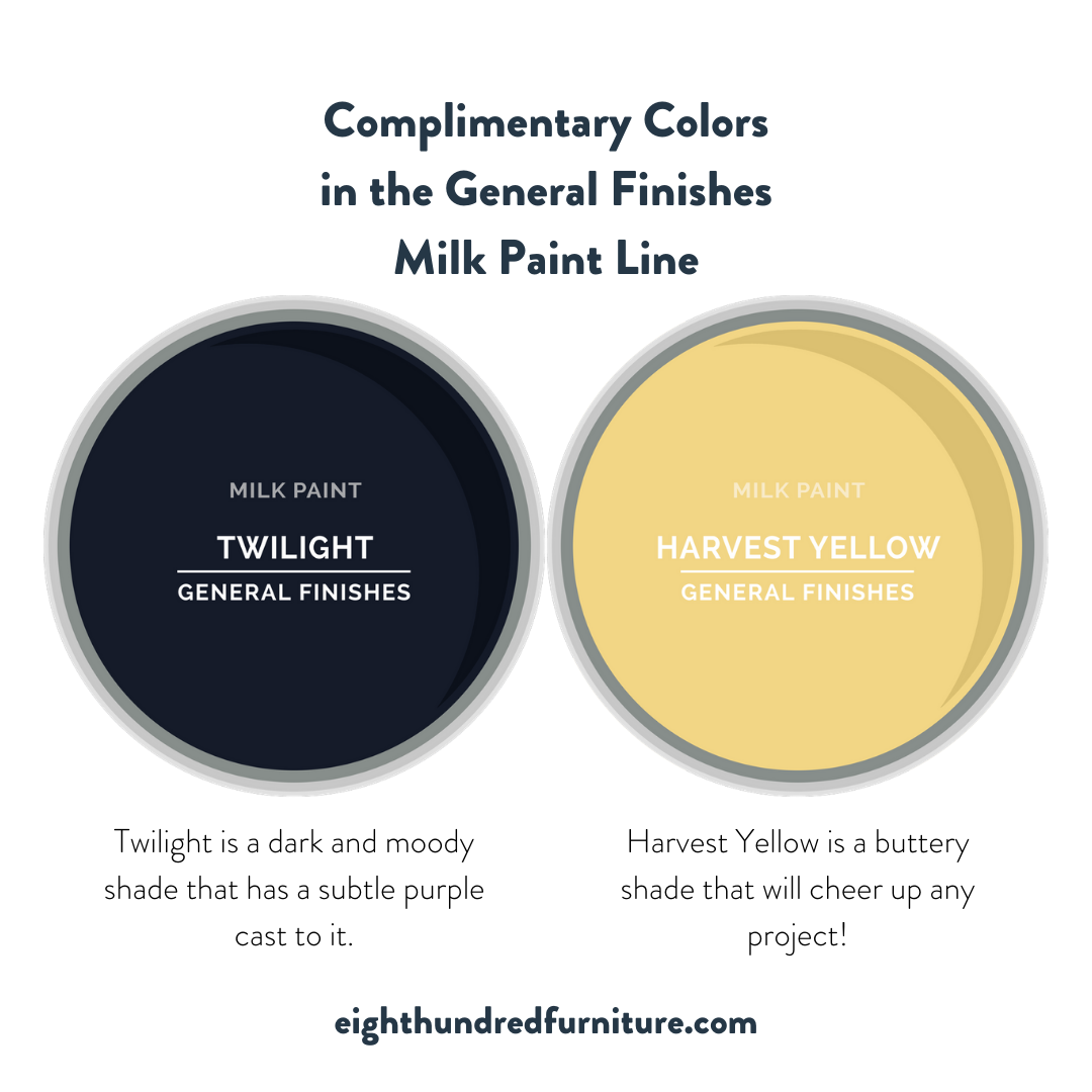 Twilight and Harvest Yellow complimentary colors by General Finishes Milk Paint