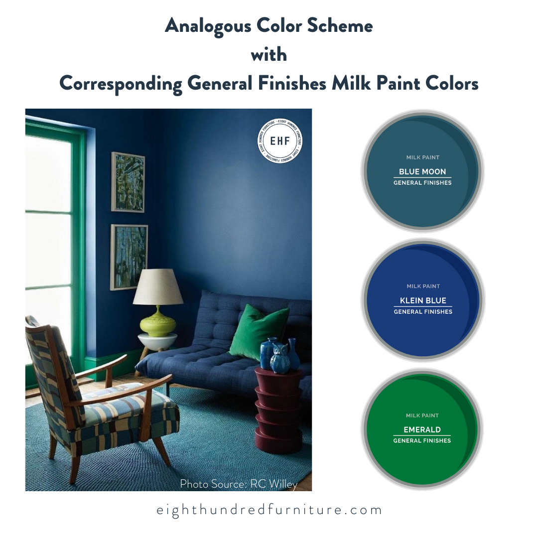 Analogous Color Scheme with General Finishes Milk Paint colors, Eight Hundred Furniture