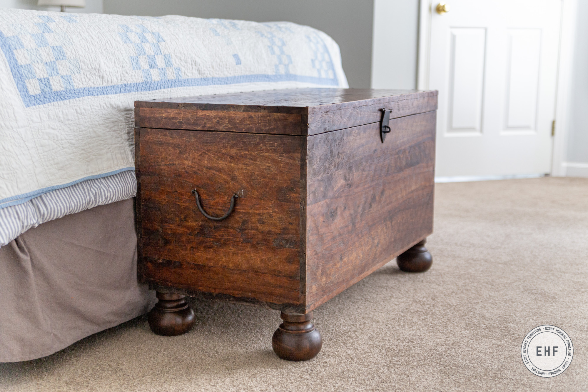 Wooden blanket chest with turned bun feet stained in Antique Brown Water Based Wood Stain by General Finishes, Eight Hundred Furniture