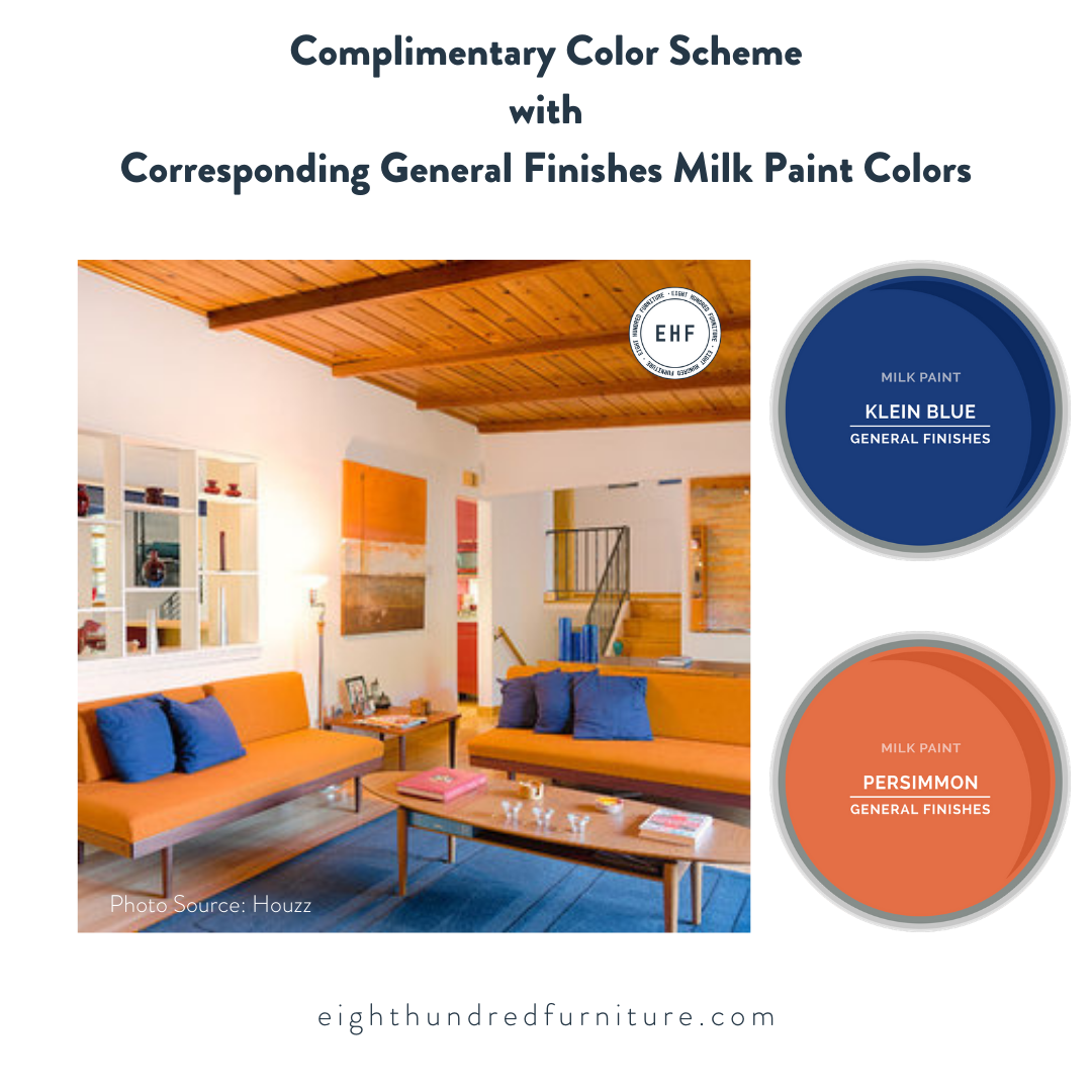 Complimentary color scheme with General Finishes Klein Blue and Persimmon Milk Paint, Eight Hundred Furniture