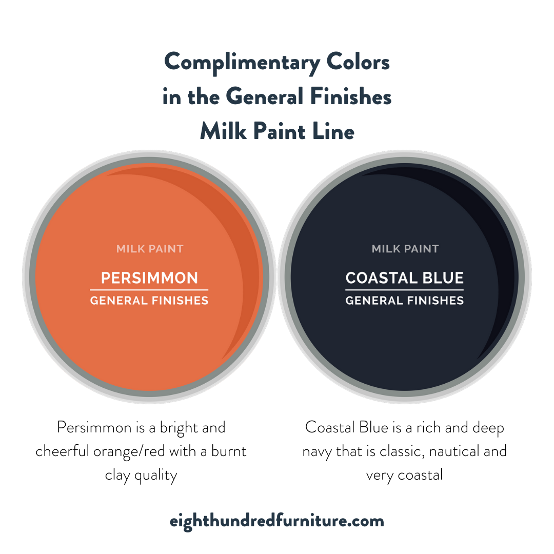 Persimmon and Coastal Blue by General Finishes Milk Paint are complimentary colors.