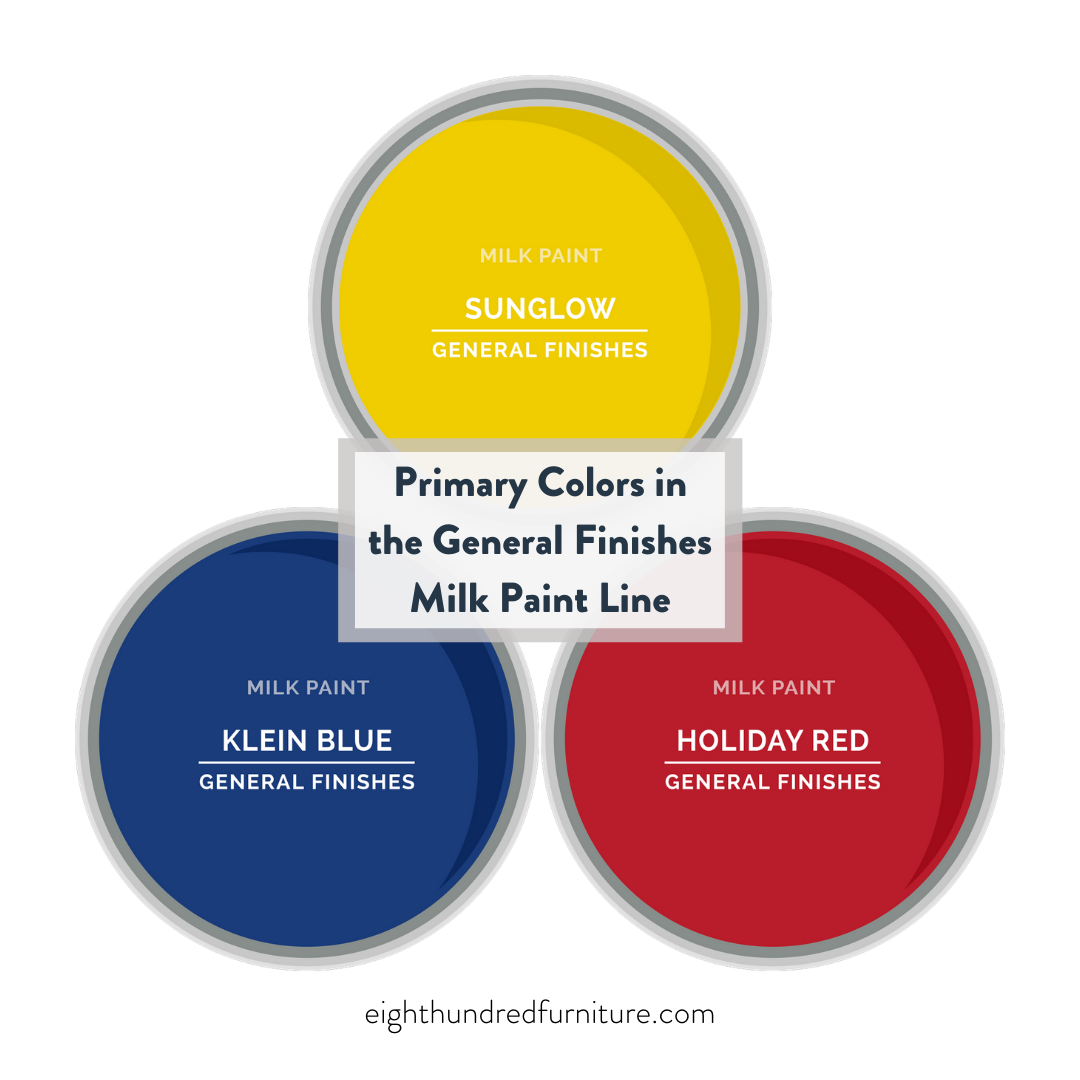 Primary colors, General Finishes Milk Paint, Eight Hundred Furniture