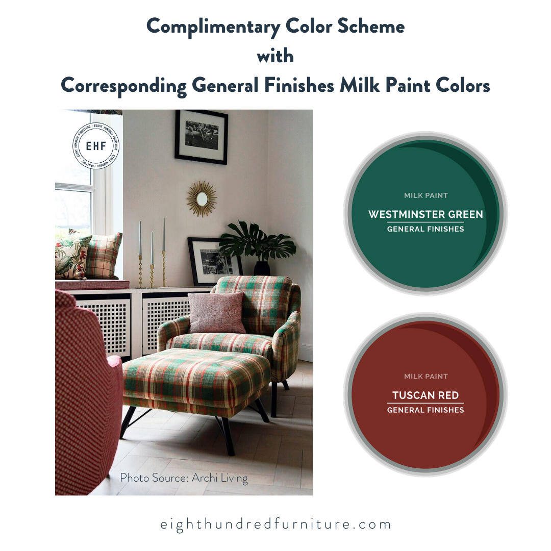 Complimentary Color Scheme with Westminster Green and Tuscan Red Milk Paint by General Finishes, Eight Hundred Furniture