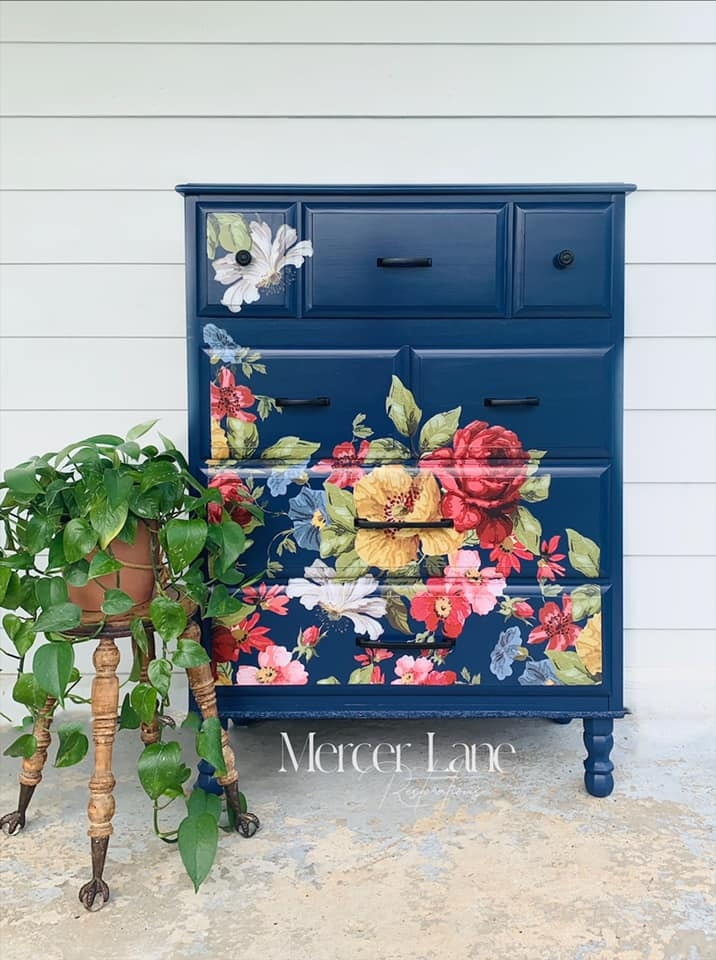 Dresser in General Finishes China Blue Milk Paint with Decor Transfer by Mercer Lane