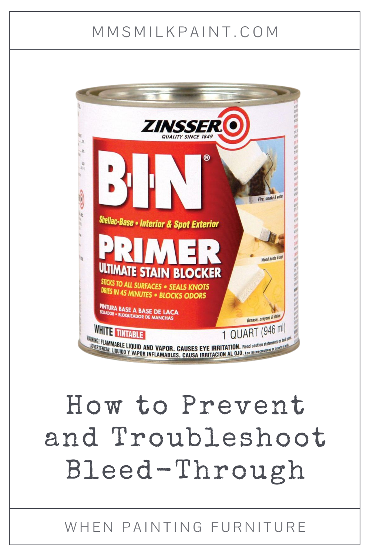 Zinsser BIN Shellac Based Primer, Bleed Through, Preventing Bleed Through, Miss Mustard Seed's Milk Paint