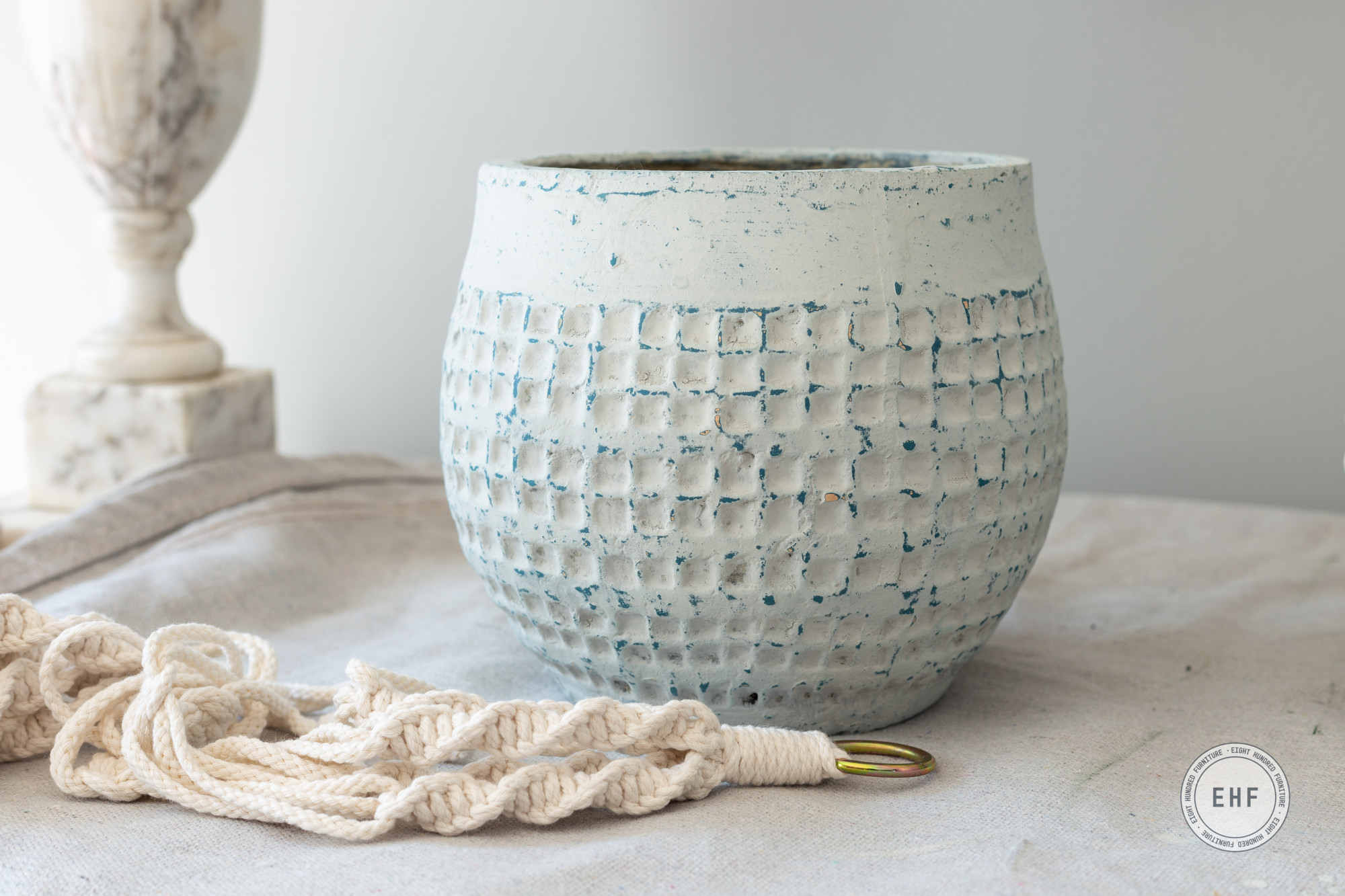 Macrame pot hanger and ceramic pot with honeycomb pattern painted in Mora by Miss Mustard Seed's Milk Paint