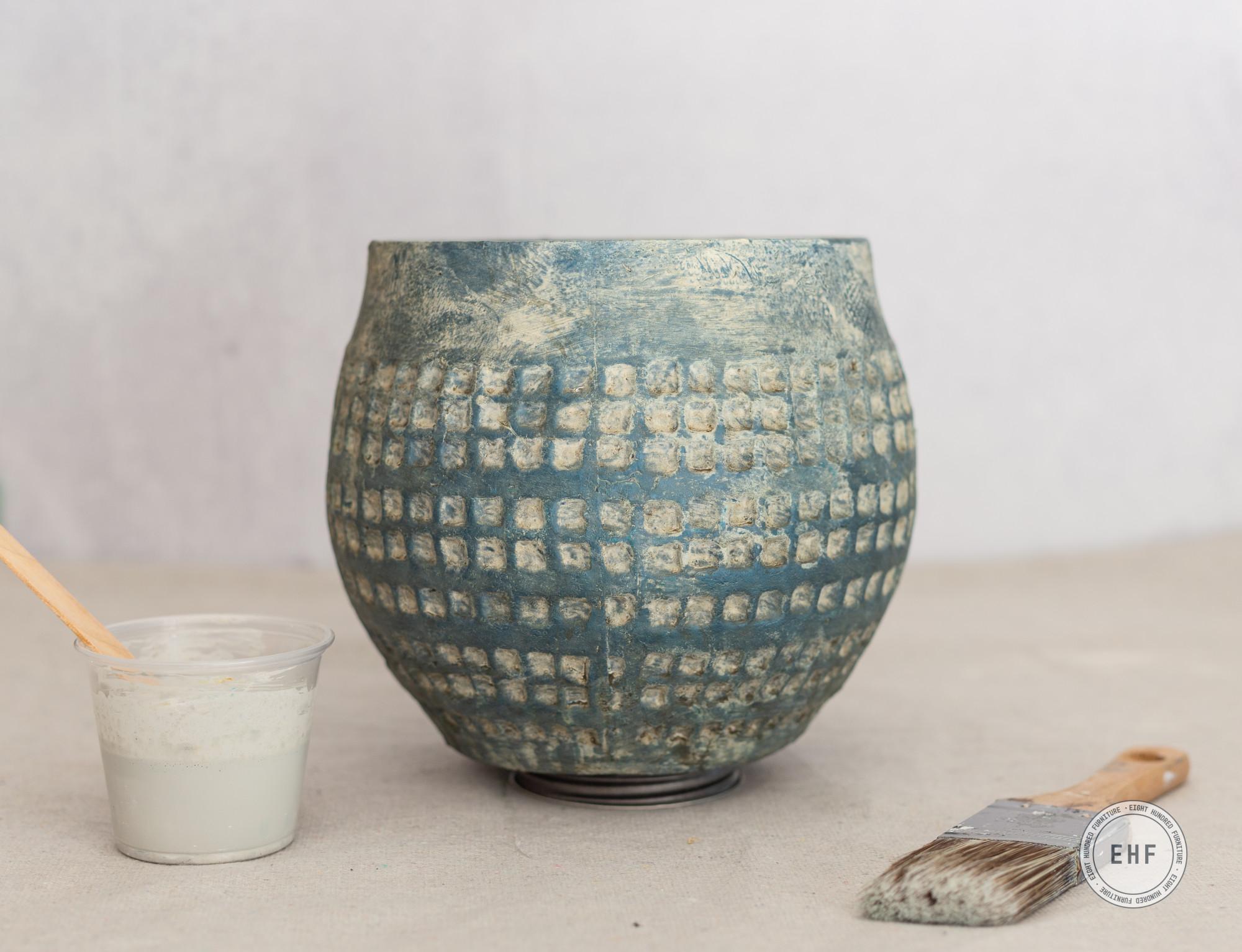 Teal ceramic pot, Mora Milk Paint, Miss Mustard Seed's Milk Paint, Eight Hundred Furniture