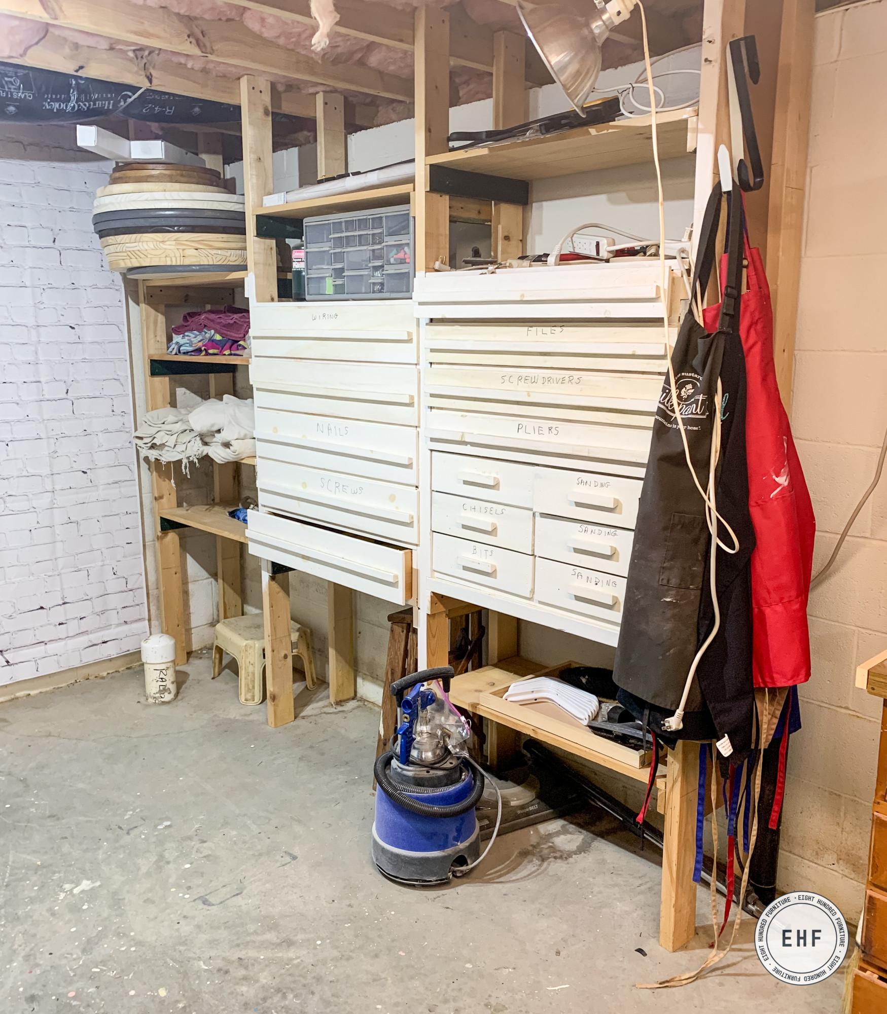 Basement studio makeover, Eight Hundred Furniture, Hand Made Shelves