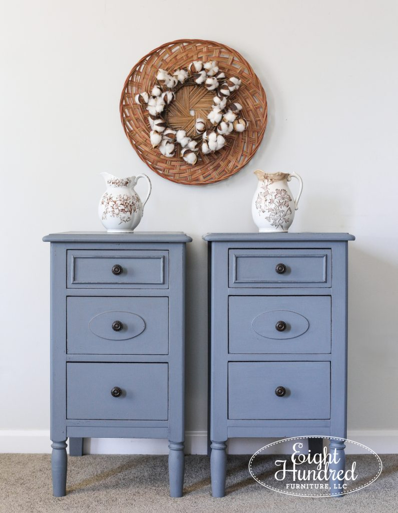 Antique nightstands in Aviary by Miss Mustard Seed's Milk Paint, Eight Hundred Furniture